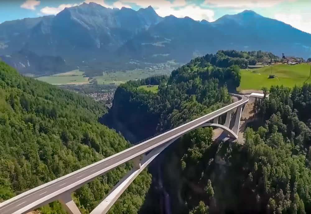 Taminabrücke Im Taminatal Bei Pfäfers (Luftaufnahme)