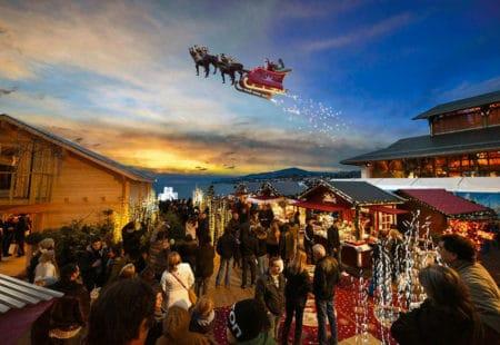 Montreux Weihnachtsmarkt fliegender Weihnachtsmann - mit Galliker Ballwil AG, CarReisen